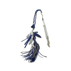 Sautoir feuille pompon bleu