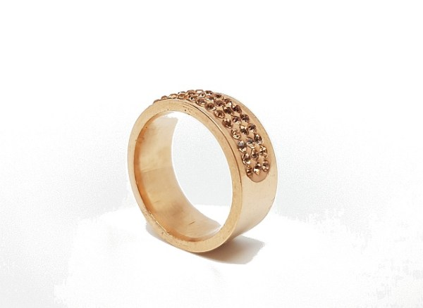 Anneau rose gold demi cercle strass