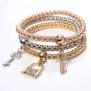 Bracelet charms cadenas clés
