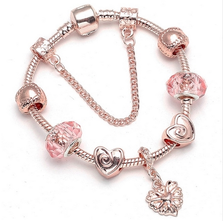 Bracelet charms rose gold et rose