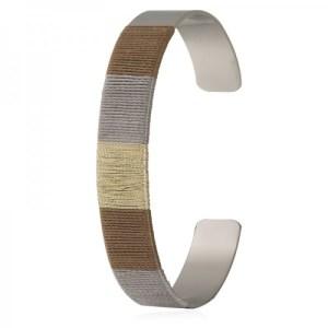 Bracelet jonc fils gris doré