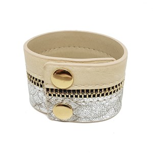 Bracelet manchette zip argentée