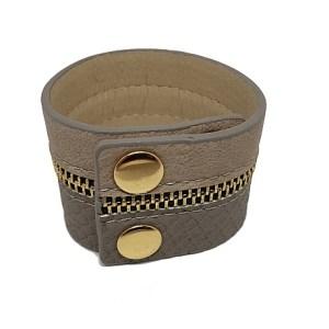 Bracelet manchette zip grise