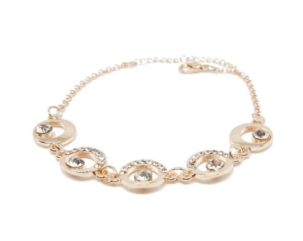 Bracelet cercles strass rose gold zoom