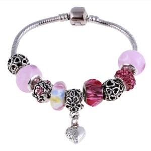 bracelet charms perles roses