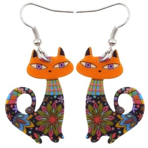 boucles d'oreilles chat orange