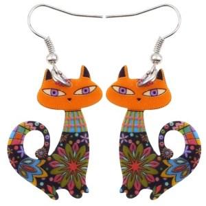 boucles d'oreilles chat orange