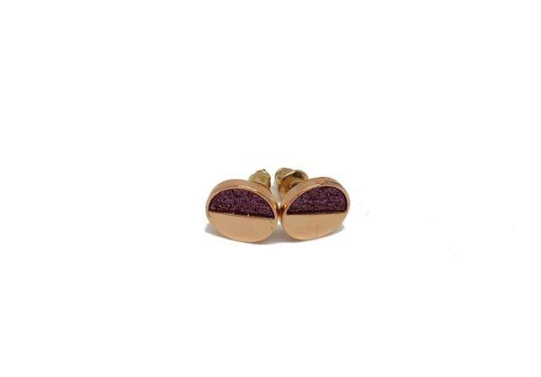 Clous d'oreilles pailletés rose doré