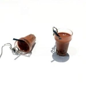 boucles d'oreilles chocolat chaud