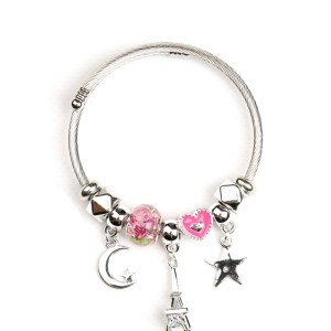 Bracelet rose étoile lune