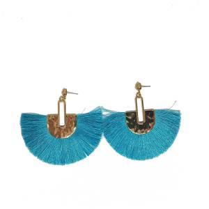 Boucles d'oreilles éventail turquoise