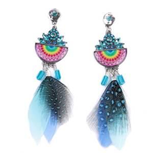 Boucles d'oreilles plumes multicolores éventail