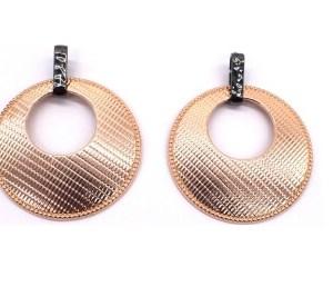 Boucles d'oreilles rondes métal rose gold