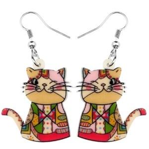 Boucles d'oreilles chat clin d'oeil