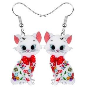 Boucles d'oreilles chat noeud