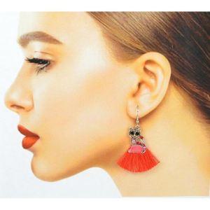 Boucles d'oreilles chat pompon rouge