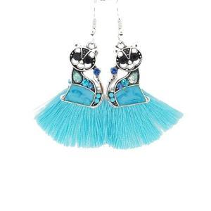 Boucles d'oreilles chat pompon turquoise