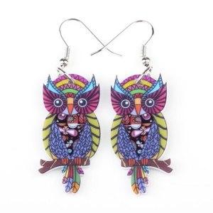 Boucles d'oreilles hibou multicolore