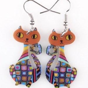 Boucles d'oreilles chat tête orange