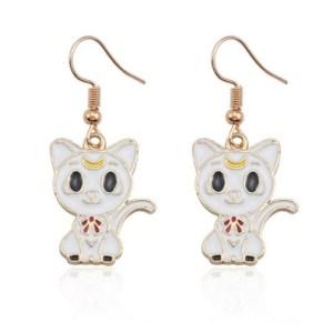 Boucles d'oreilles chaton lune blanc