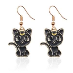 Boucles d'oreilles chaton lune noir