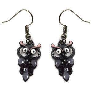 Boucles d'oreilles chouette noire