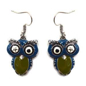 Boucles d'oreilles chouette verte