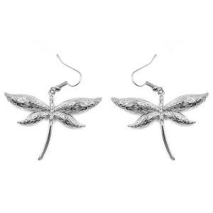 Boucles d'oreilles libellule argentée