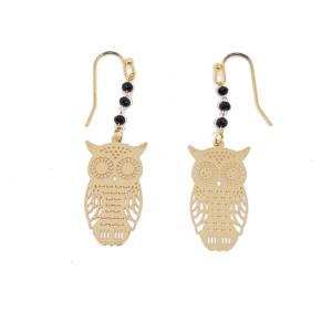 Boucles d'oreilles pendantes hibou or