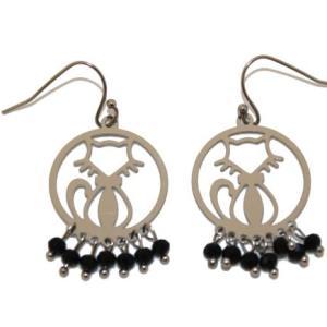 Boucles d'oreilles perles noires fantaisie