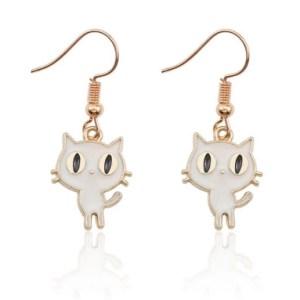 Boucles d'oreilles petit chaton blanc