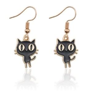 Boucles d'oreilles petit chaton noir