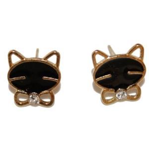 Boucles d'oreilles chat strass