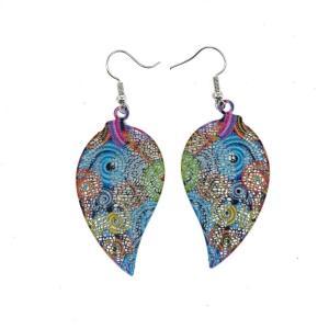 Boucles d'oreilles feuille multicolore