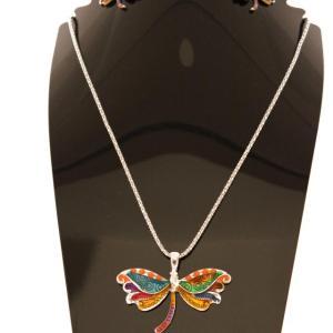 Parure papillon argentée