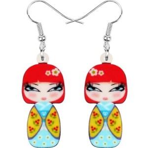 Boucles d'oreilles poupée kimono
