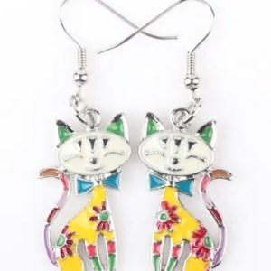 Boucles d'oreilles chat email jaune