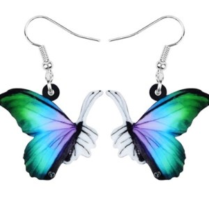Boucles d'oreilles papillon bleu vert