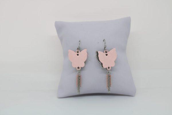 Boucles d'oreilles papillon rose 3D