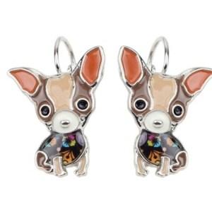 Boucles d'oreilles émail chihuahua