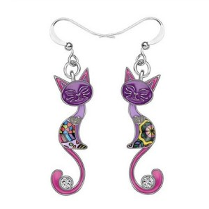 Boucles d'oreilles chat émail strass violet