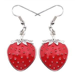 Boucles d'oreilles émail fraise