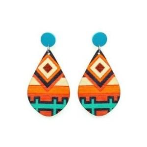 Boucles d'oreilles bois motif