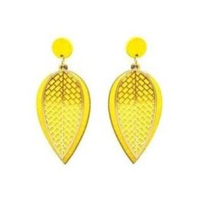 Boucles d'oreilles feuille jaune