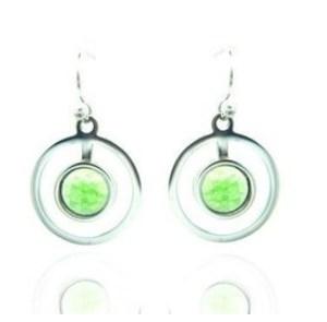 Boucles d'oreilles anneau perle verte