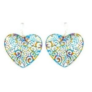 Boucles d'oreilles coeur bleuté