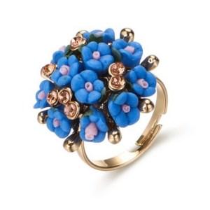 Bague bouquet de fleurs bleu