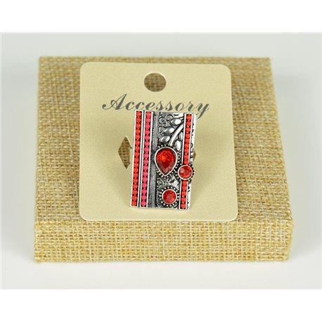Bague ethnique rectangle perles rouge