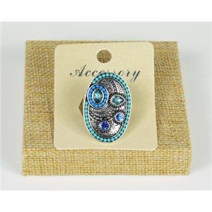 Bague ovale perles bleu