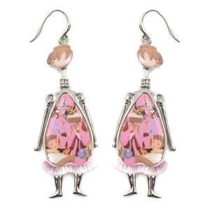 Boucles d'oreilles poupée rose